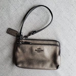 Coach Metallic Bronze Wristlet